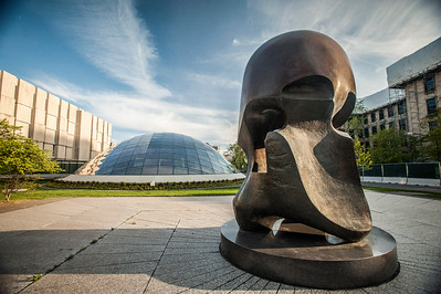 Sculpture in front of the Joe and Rika Mansueto Library,