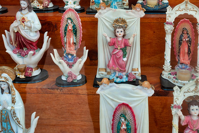Religious icons including the popular Lady of Guadalupe