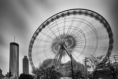 Long Exposure of Atlanta's Ferris Wheel in Monochrome