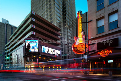 Hard Rock Cafe at the blue hour.  The Hard Rock is a popular venue in downtown Atlanta.  It is located at the intersection of Peachtree Street and Andrew Young International Blvd.