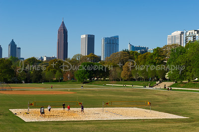 View of Atlanta's Piedmont Park Athletic Fields on a Saturday morning in spring.