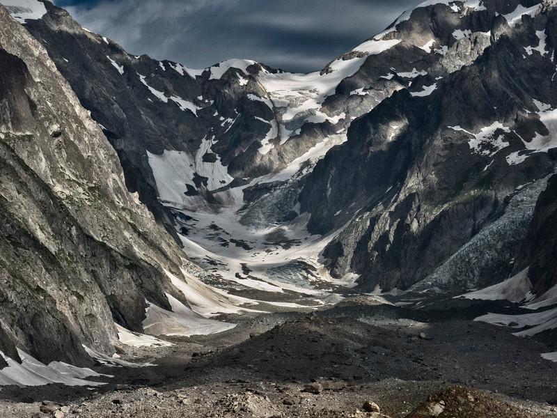 Moraine and Receded Glacier, Italian Alps