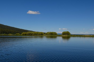 Mt Scott at Crater Lake in the distance from Recreation Creek as it enters Pelican Bay