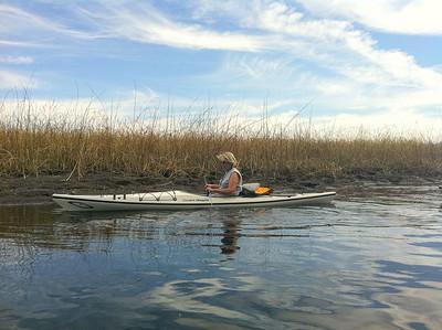 Nancy in her new kayak