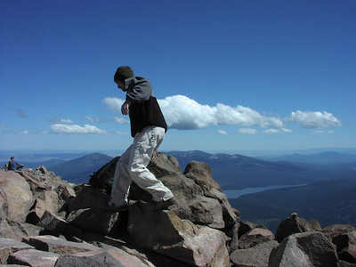 boulder leaping at the top of Mt McLoughlin