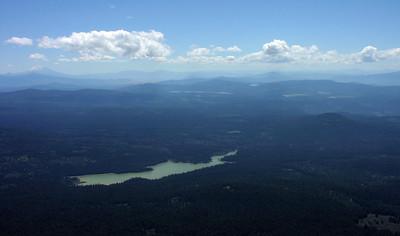 Fish Lake has an algae bloom.  Mt Shast to the southeast