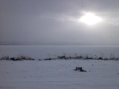 snow flurries on Klamath Lake