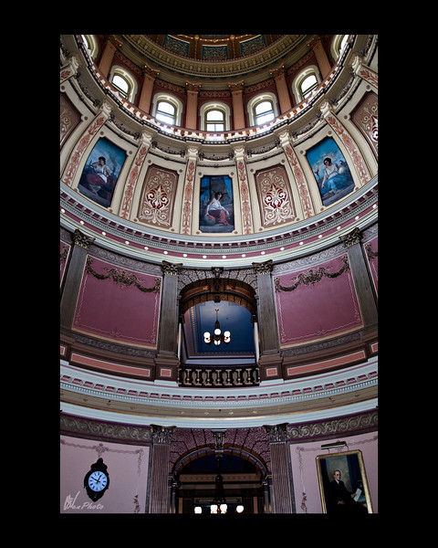 """If you look close, you can see """"The eight allegorical muses"""" in the rotunda.<br /> <br /> """"Painted on canvas and glued directly to the inner dome, they are 'muses' - guides and sources of inspiration - drawn from Greek and Roman mythology.""""<br /> <br /> (Taken, from""""Your State Capitol"""", booklet.)<br /> <br /> They are: Art, Agriculture, Law, Science, Justice, Industry, Commerce & Education<br /> <br /> The artists name was Tommaso Juglaris, who painted them in 1886, while painting and teaching in Boston."""