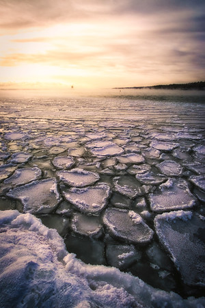 Pancake Ice During Sunset