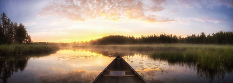 Misty Morning Canoe (Pano)