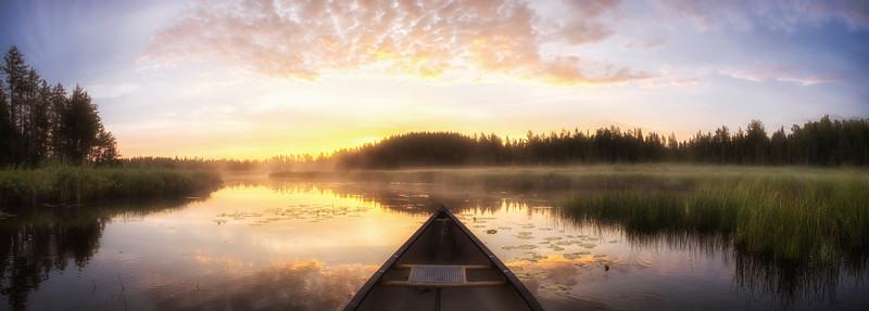 Misty Morning Canoe (Pano)