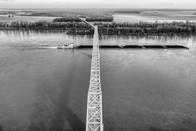 Coal Barge and Blue Bridge