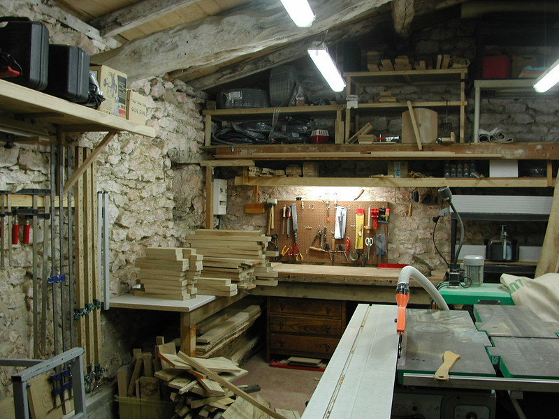 My woodshop with some project underway - can't remember which one.