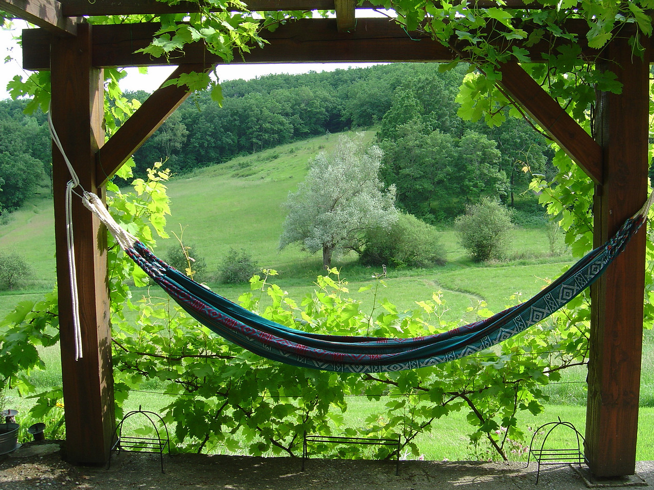 A view across a hammock strung between two posts of the arbor over the stable front.