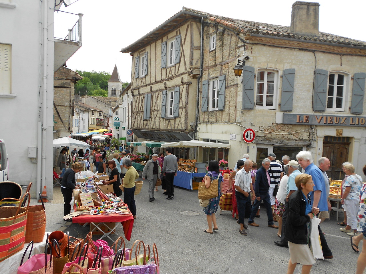 Market day in Montcuq, another town about 15 minutes up the road.  Lots of tourists during the summer.