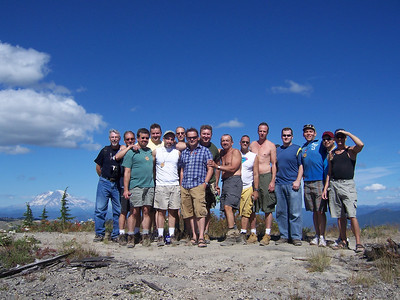 Most of the hikers with Rainier in the back