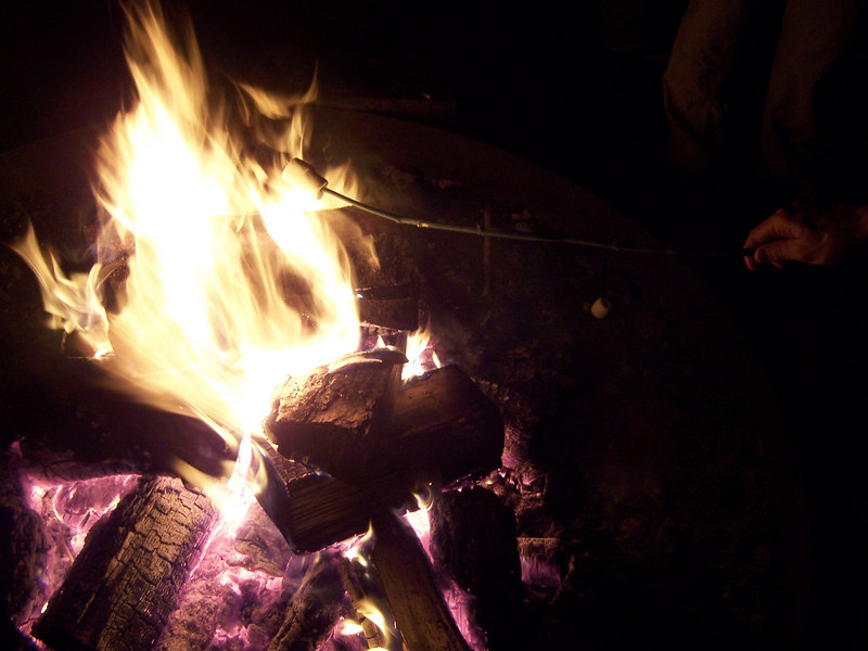 The campfire on the first night