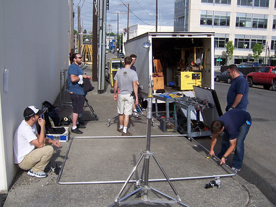 The crew setting up