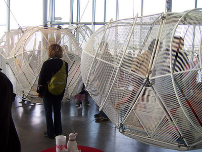 People can sit inside these art pieces.