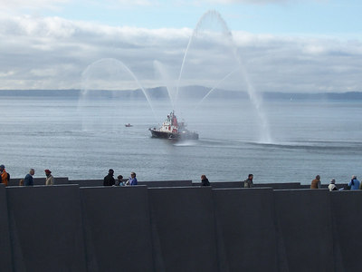 A fireboat on hand for the grand opening