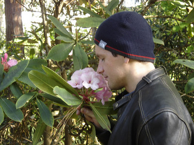 Everyone found a Rhododendron, but only Vlad stopped to smell it.