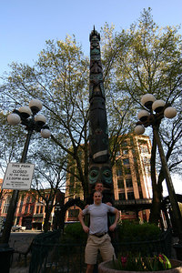 Don and David add to the Totem Pole in Pioneer Square.