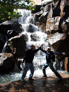 "More silliness with Alex and Steve at ""The Waterfall Garden.""  Many people have no idea this is right in Pioneer Square."