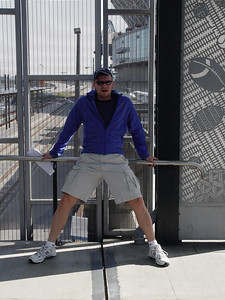 "Kurt straddles the ""Bridge Between Two Cultures"" near the stadiums."