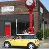 Texana's adorable car made it into the photo for this clock on Harrison and Dexter.