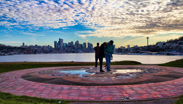 On top of the mound at Gasworks Park