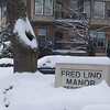 Fred Lind sign partially covered in snow.  Plus I like the tree.