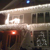 Neighborhood house.  I like their evergreen bush covered in snow.
