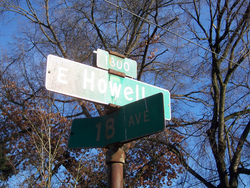 10:43 am at 18th and Howell, the start of my trip in front of my house.