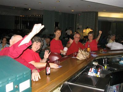 10/05 - Elks come out of the wood work to cheer on the Angels in the playoffs vs. the Yankee on Pizza/Pasta Night