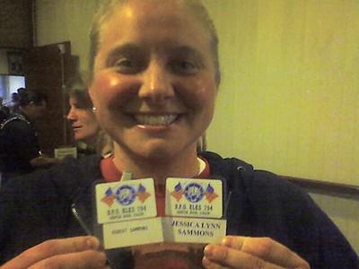 1/22/08 - Jessica Lynn Sammons displays her membership card with her Elk cousin Robert Sammons