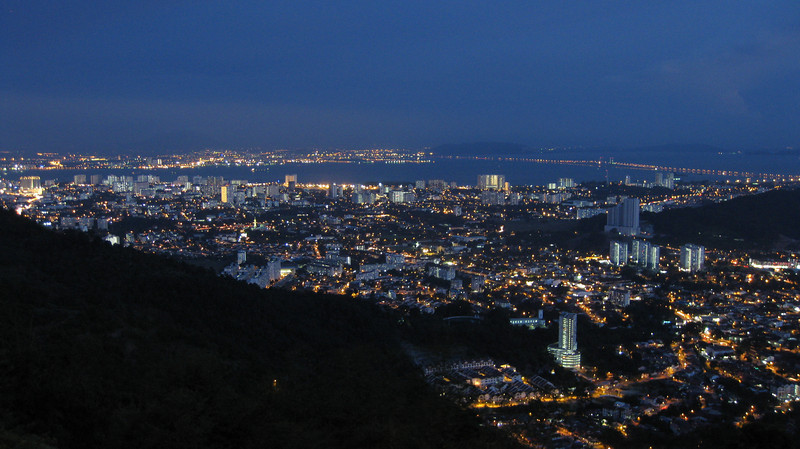Overlooking Georgetown, Penang from the top of Penang Hill. Mainland Malaysia is across the bridge.