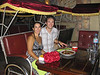 Dining at fancy Cyclo Restaurant: Viet-inspired French cuisine - tres bon!  The seats at the tables are modelled after the rickshaws that ply the streets for tourists.