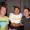 Our adorable little Otavaleno server lady - she's standing, we're sitting!