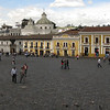 the large plaza in front of the Monastery of San Fransisco, where people feed the pigeons