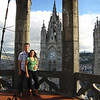 Andrew & Julie atop the middle tower on a lovely late afternoon in Quito.