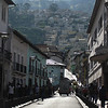 A typical narrow street leads up to the hills in Quito's Old Town (calle Chile street)