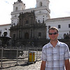 Andrew stands in front of Ecuador's oldest church, San Francisco