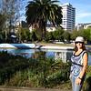 "Julie at Parque de Carolina, as we wonder what ""ceviche de chochos"" would be. (it's ceviche made with an Ecuadorian white bean)"