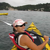 Julie paddles us towards Cathedral Cove
