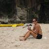 Enjoying a moca on the beach