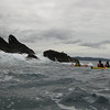 Sea kayaking around the ocean-ward side of Motueka Island