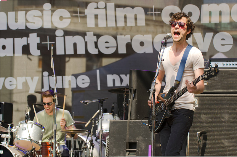 This is Chris Cain of We are Scientists playing at Yonge-Dundas Square in Toronto 15 June, 2013.