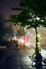 Foggy night along Wellesley St in Toronto, 28 May, 2013.