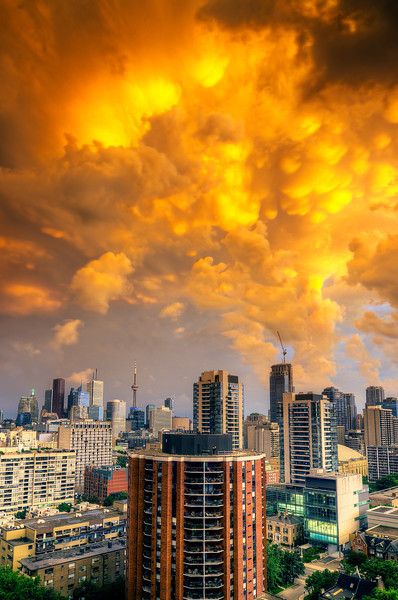 Amazing sunset after thunderstorm over Toronto. 19 July, 2013.
