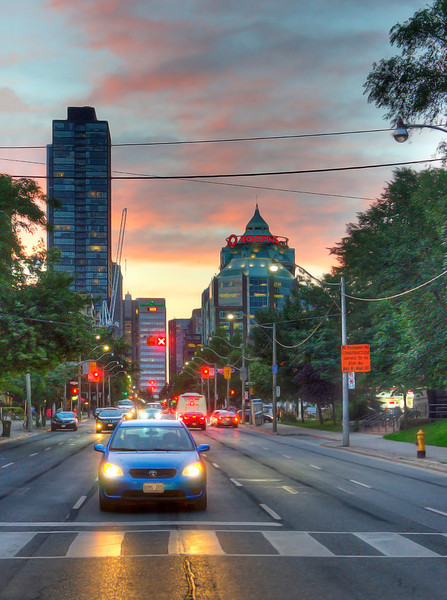 Jarvis and Maitland at sunset in Toronto. 12 July, 2013.